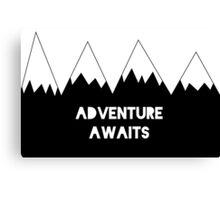 Adventure Awaits, Adventure Time, Nursery Art, Kids, Childrens art, Nursery Print, Poster, Black and White, Scandinavian, Minimalist Poster Canvas Print