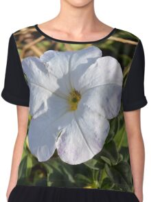 White flower in the grass. Chiffon Top