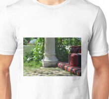 Park arrangement with classical column and comfortable seating pillows. Unisex T-Shirt