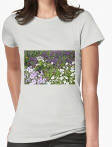Many beautiful colorful flowers in the park. Womens Fitted T-Shirt