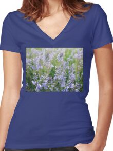 Blue flowes Women's Fitted V-Neck T-Shirt