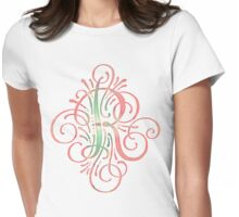 Monogram Watercolor Typography Letter R Womens Fitted T-Shirt