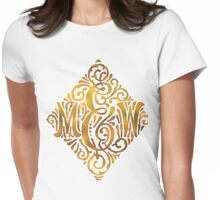 Wedding Monogram in Gold Letters M and W Womens Fitted T-Shirt