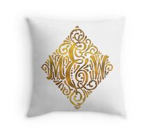 Wedding Monogram in Gold Letters M and W Throw Pillow