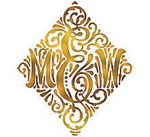 Wedding Monogram in Gold Letters M and W Photographic Print