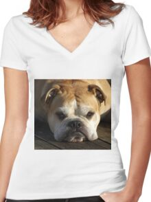 bulldog your best friend Women's Fitted V-Neck T-Shirt