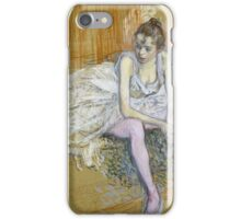 Henri De Toulouse Lautrec - A Seated Dancer With Pink Stockings iPhone Case/Skin