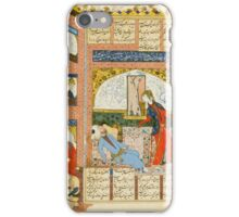 LEAF FROM A MANUSCRIPT OF AMIR KHOSROW'S KHAMSA-I DIHLAVI - KHOSROW AND SHIRIN MEET IN A HUNTING PAVILION, PERSIA, SAFAVID,  iPhone Case/Skin