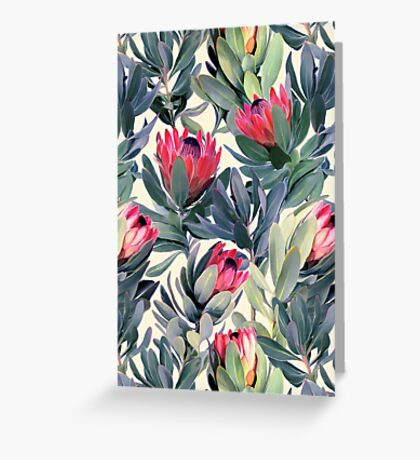 Painted Protea Pattern Greeting Card