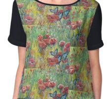 Poppies and Butterflies, remembrance and new beginnings Chiffon Top