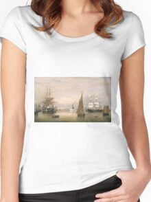 Fitz Henry Lane - Boston Harbor  Women's Fitted Scoop T-Shirt