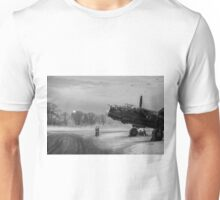 Time to go: Lancasters on dispersal, B&W version Unisex T-Shirt