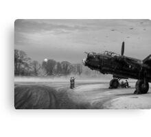 Time to go: Lancasters on dispersal, B&W version Canvas Print