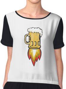 Beer Mug Rocket Ship Blasting Retro Chiffon Top