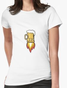 Beer Mug Rocket Ship Blasting Retro Womens Fitted T-Shirt