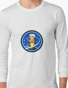 Beer Mug Rocket Ship Space Circle Retro Long Sleeve T-Shirt