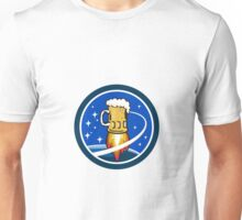 Beer Mug Rocket Ship Space Circle Retro Unisex T-Shirt
