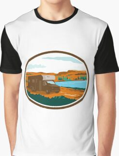 RV Camper Van Desert Scene Oval Retro Graphic T-Shirt