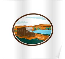 RV Camper Van Desert Scene Oval Retro Poster