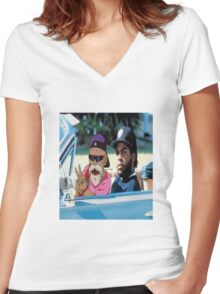Master Roshi x Ice Cube collab Women's Fitted V-Neck T-Shirt