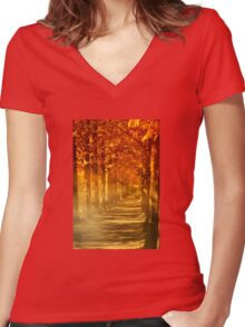 Autumn woods Women's Fitted V-Neck T-Shirt
