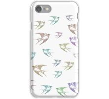 Pastel Birds Oil Painting Flock Traveling Together, Animals Nature Print iPhone Case/Skin