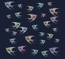 Pastel Birds Oil Painting Flock Traveling Together, Animals Nature Print One Piece - Long Sleeve