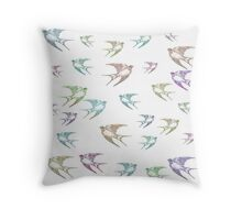Pastel Birds Oil Painting Flock Traveling Together, Animals Nature Print Throw Pillow