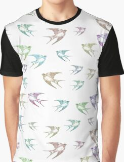 Pastel Birds Oil Painting Flock Traveling Together, Animals Nature Print Graphic T-Shirt