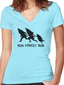 Run Forest Run Women's Fitted V-Neck T-Shirt