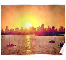Sunset Over Miami Florida Poster