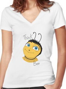 Bee movie think bee Women's Fitted V-Neck T-Shirt
