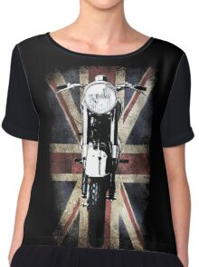 Classic British BSA Motor Cycle Tee Chiffon Top
