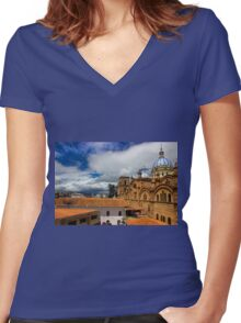 Iconic View Of Cuenca Ecuador Women's Fitted V-Neck T-Shirt