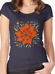 Whimsical Decorative Orange Flower Women's Fitted Scoop T-Shirt