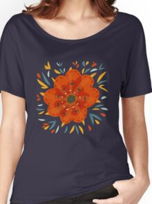 Whimsical Decorative Orange Flower Women's Relaxed Fit T-Shirt
