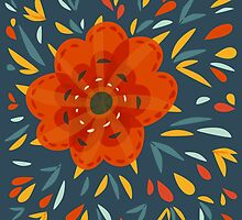 Whimsical Decorative Orange Flower by Boriana Giormova