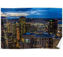 Seattle, Washington skyline at dawn Poster