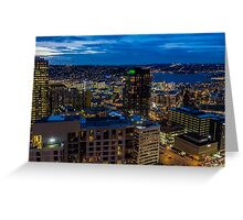 Seattle, Washington skyline at dawn Greeting Card