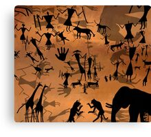 ancient cave drawings in libya  Canvas Print