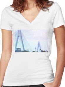 Sydney Anzac Bridge Vaporwave Landscape Women's Fitted V-Neck T-Shirt