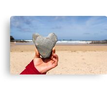 Treyarnon Bay Love Heart Canvas Print
