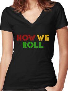 Reggae Weed Rasta Marijuana Cool T-Shirts Women's Fitted V-Neck T-Shirt