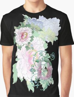 19th C. Peonies, Monogram D Graphic T-Shirt