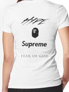 Hype Bape Supreme Fear of God Women's Fitted V-Neck T-Shirt