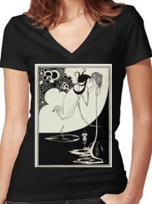 Aubrey Beardsley - Fantasy Illustration - Salome Women's Fitted V-Neck T-Shirt