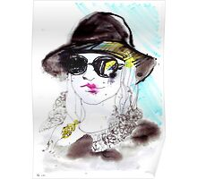 Girl wearing sunglasses and a hat Poster