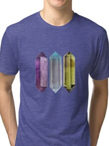 Gems Crystals Print Rocks Stones Minerals Illustrations Watercolor  Tri-blend T-Shirt