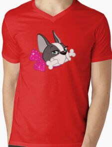 "French Bulldog ""Cherry"" Headshot Mens V-Neck T-Shirt"