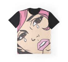 Pink Crying Comic Girl Graphic T-Shirt